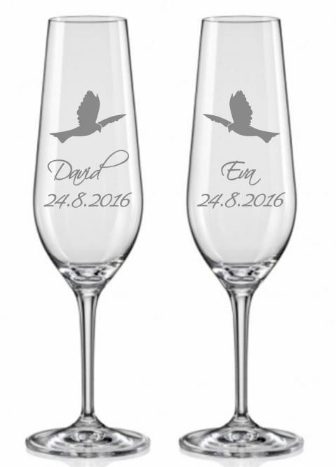 Svatební skleničky s holubicí