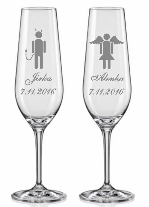 Svatební skleničky - vtipné postavičky